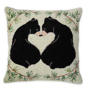 Hooked Wool Love Bears Throw Pillow Plowhearth