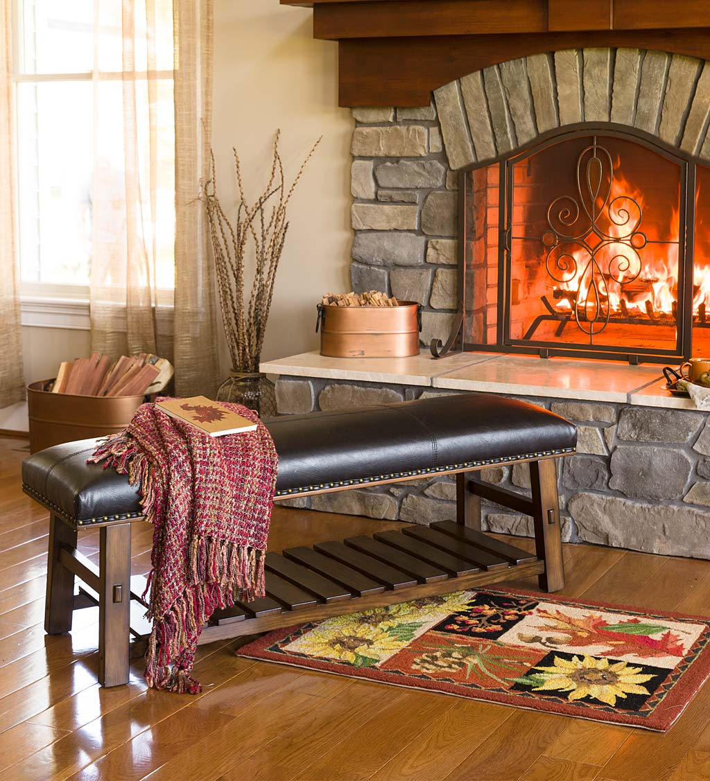 Flame Resistant Fibergl Half Round Hearth Rug 32 X 60