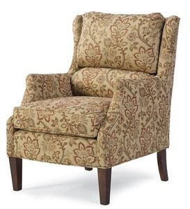 USA-Made Bedford Collection Upholstered Nigel Ottoman - Ivory Jacobean