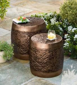 Nesting Embossed Metal Barrel Tables, Set of 2