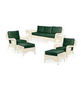 Prospect Hill Outdoor Wicker Deep Seating Sofa Set with Cushions - Cloud White with Forest Green Cushions