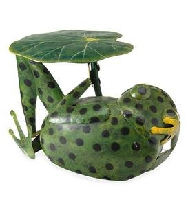 Metal Frog With Lily Pad Side Table