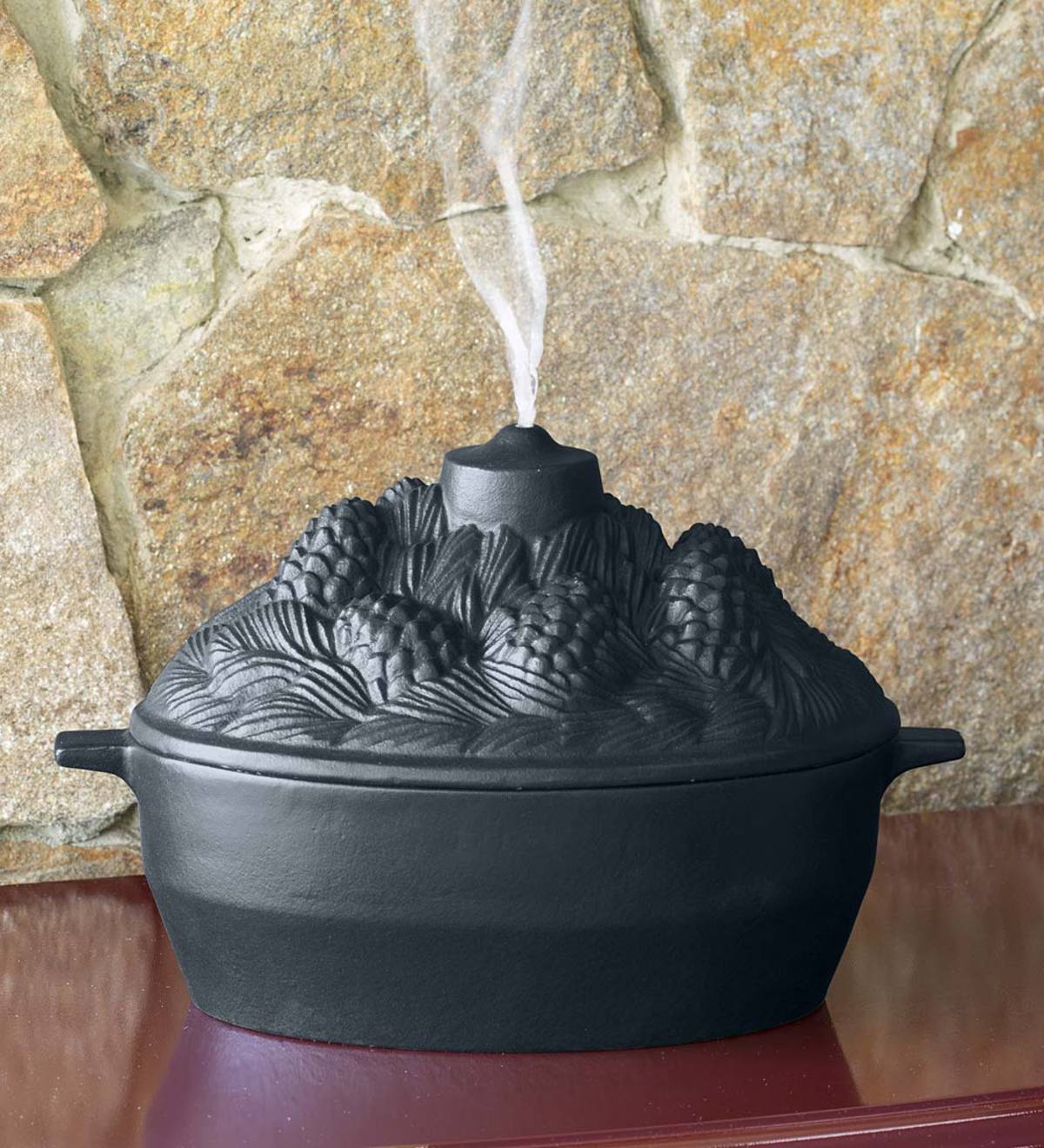 Cast Iron Pine Cone Candle Wood Stove Steamer