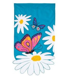 Sculpted Daisies And Butterflies Appliqué House Flag