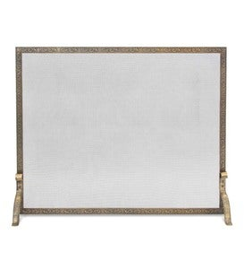Bay Branch Embossed Single Panel Fireplace Screen - Black
