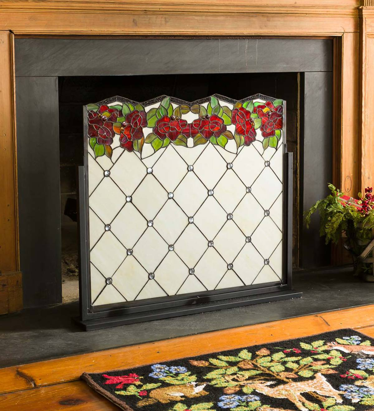 Chesterfield Stained Glass Decorative Fireplace Screen Plowhearth