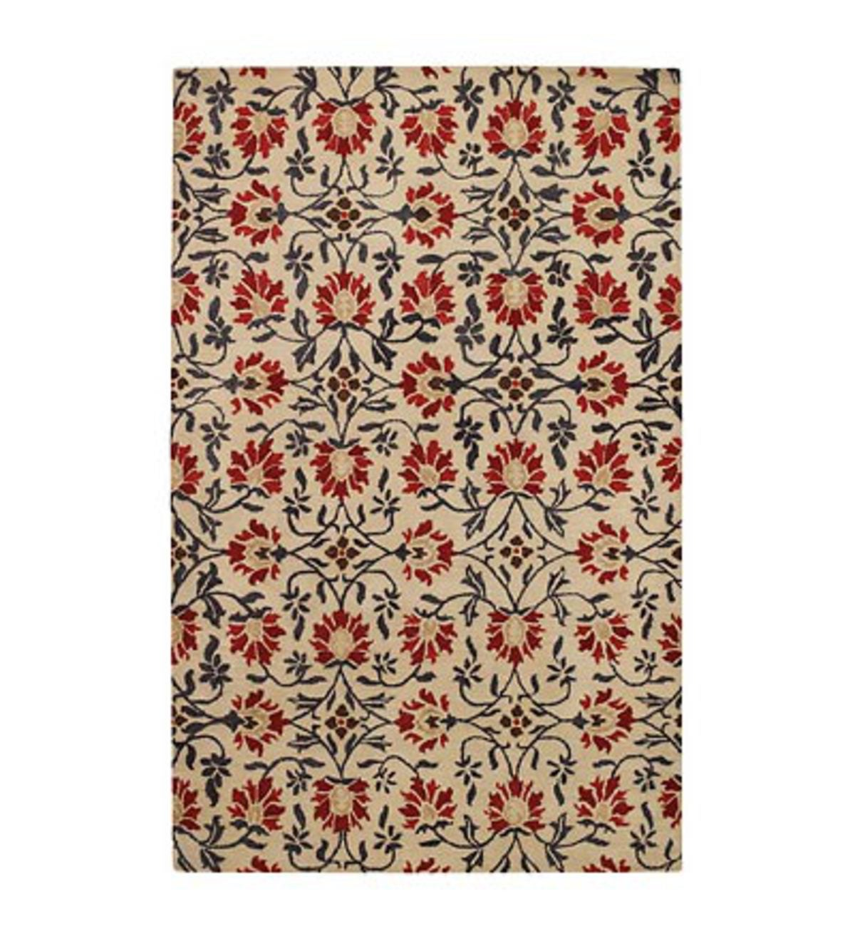 8' x 10' Charming Suzani Hand-Tufted Wool Area Rug - Red Multi