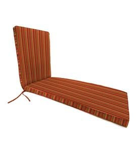 "Deluxe Sunbrella Chaise Cushion with ties 74¼"" x 23¼"" x 3¼"", hinged at 46"" from bottom - Cherry Stripe"