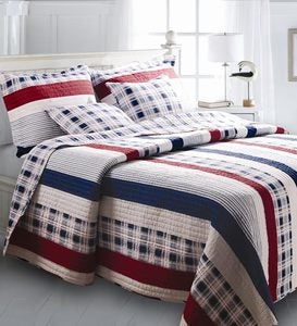 Americana Stripe Cotton Floral Plaid Patchwork Reversible Quilt Set