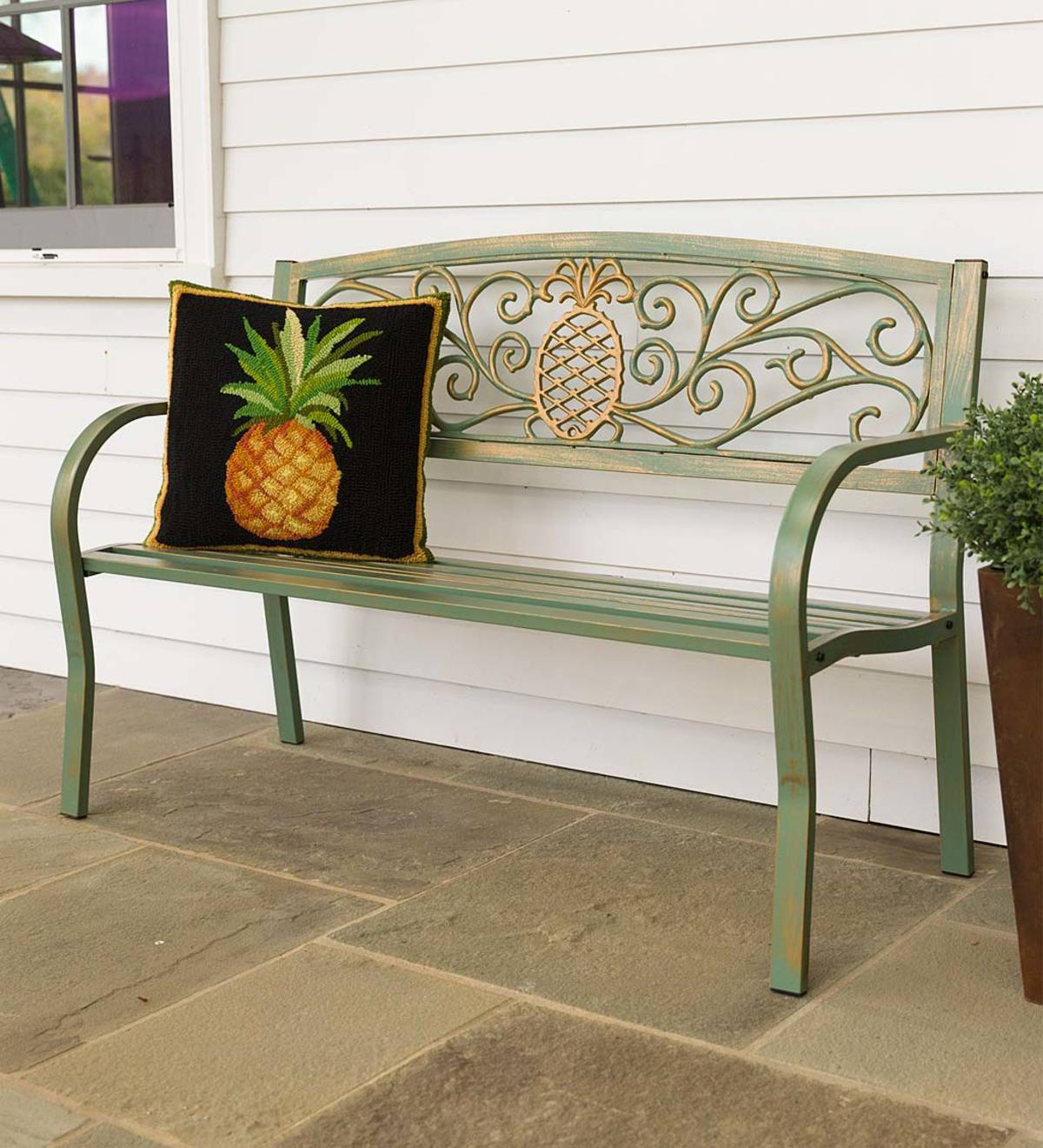 Pineapple Metal Garden Bench