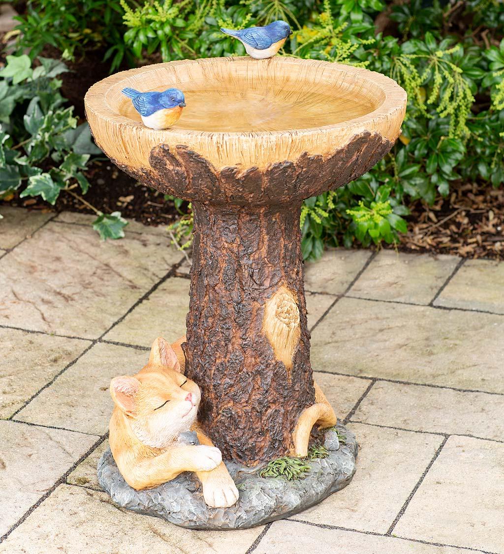 Forty Winks Tree Stump Birdbath with Cat and Bluebirds