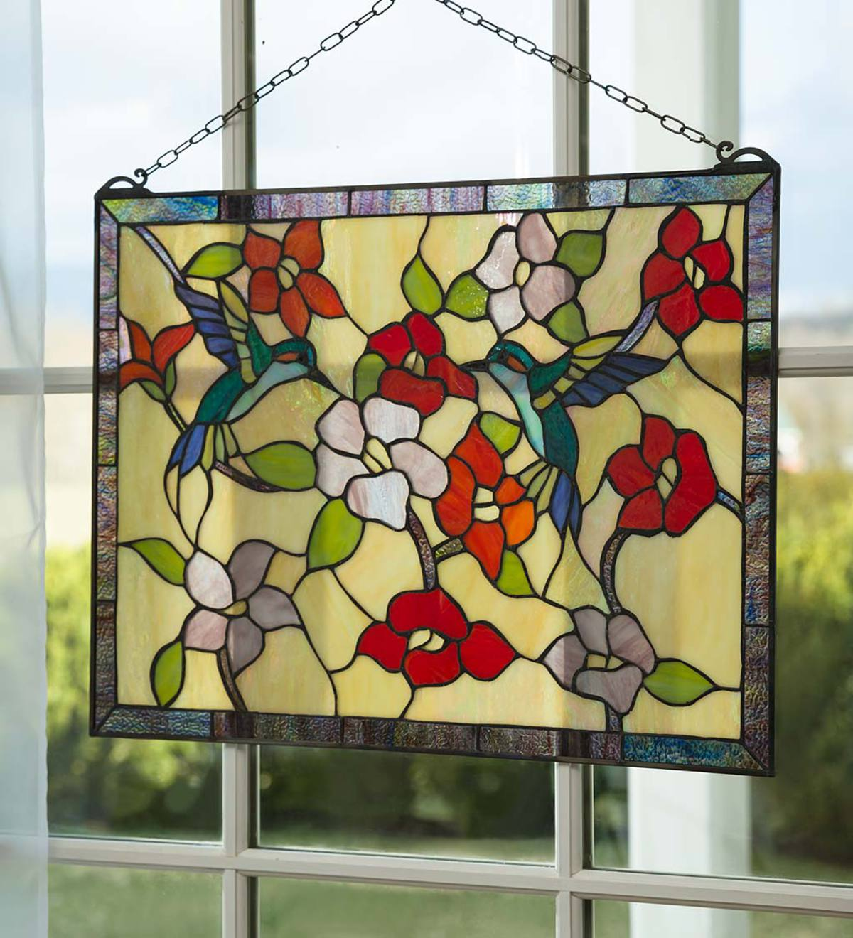 Hummingbird Garden Stained Glass Panel