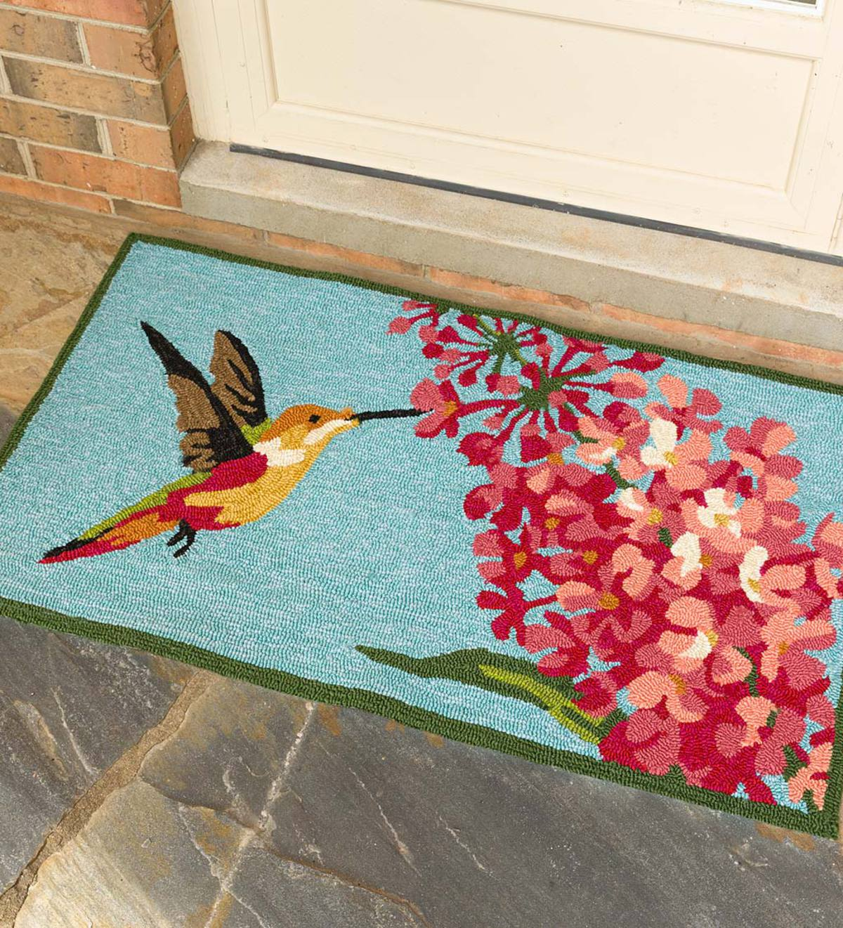 Hummingbird and Lilac Indoor/Outdoor Accent Rug