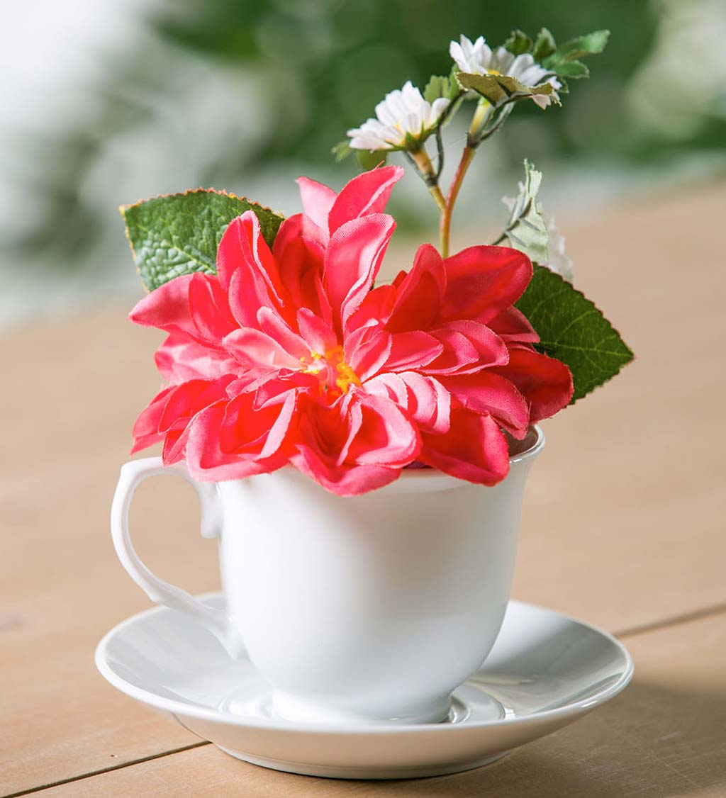 Faux Floral Arrangement in Tea Cup and Saucer