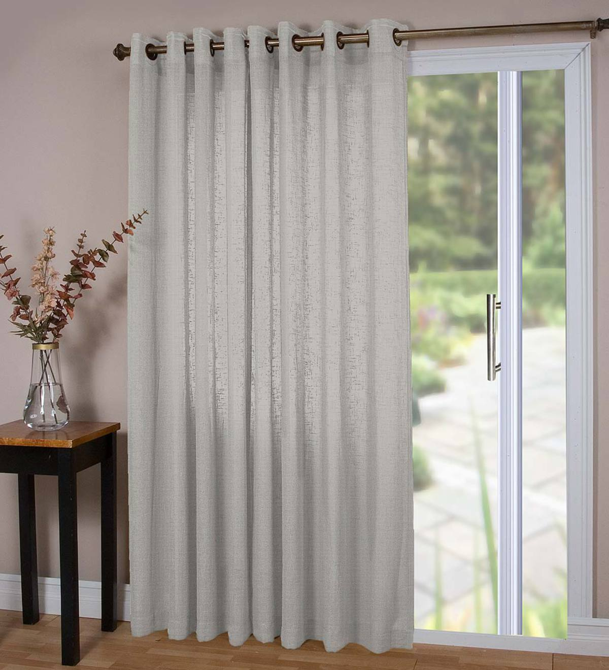 "Lined Sheer Linen Panel with Grommets, 106""W x 84""L Double Width - Gray"