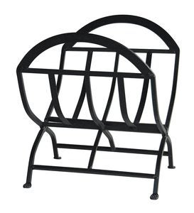 Black Wrought Iron Log Holder with Arched Top