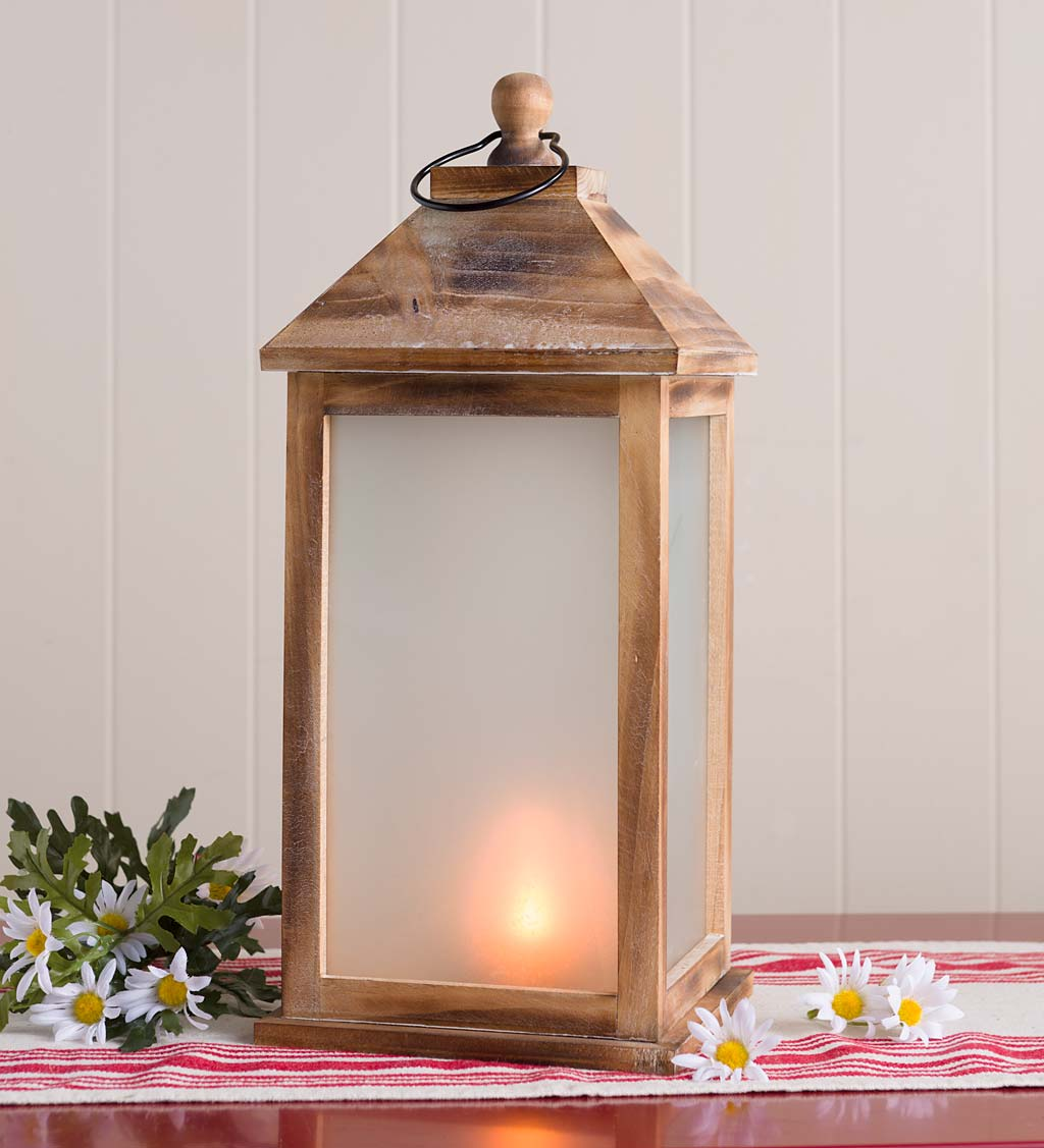 Large Rustic Farmhouse Lantern with Flickering Flame
