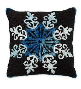 Indoor/Outdoor Hooked Shimmering Snowflake Throw Pillow