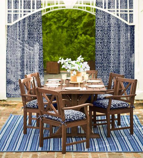 Claremont Outdoor Dining Furniture, Eucalyptus Table and Six Chairs