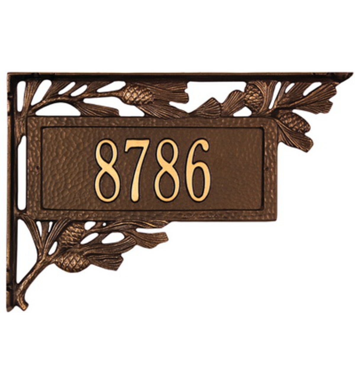 American-Made Personalized Pine Cone 2-Sided Mailbox Address Marker In Cast Aluminum
