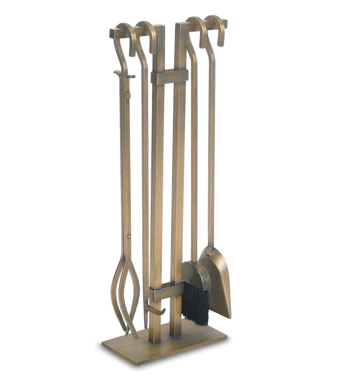 Sinclair 4-Pc. Brushed Brass Fireplace Tool Set - Brass