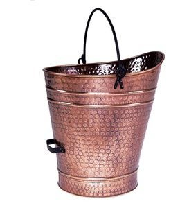 Large Iron Coal Hod in Antique Copper Finish
