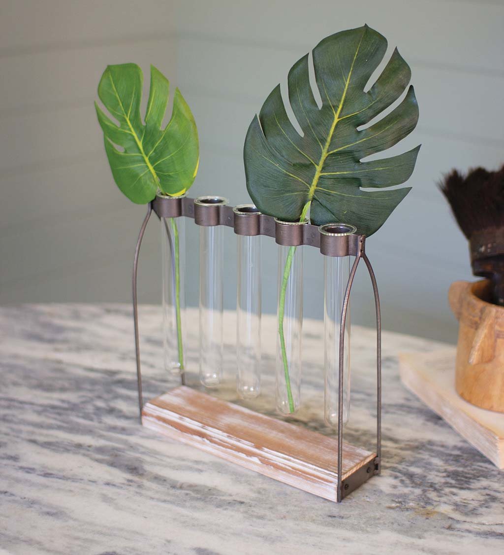 Glass Bud Vases with Metal Stand