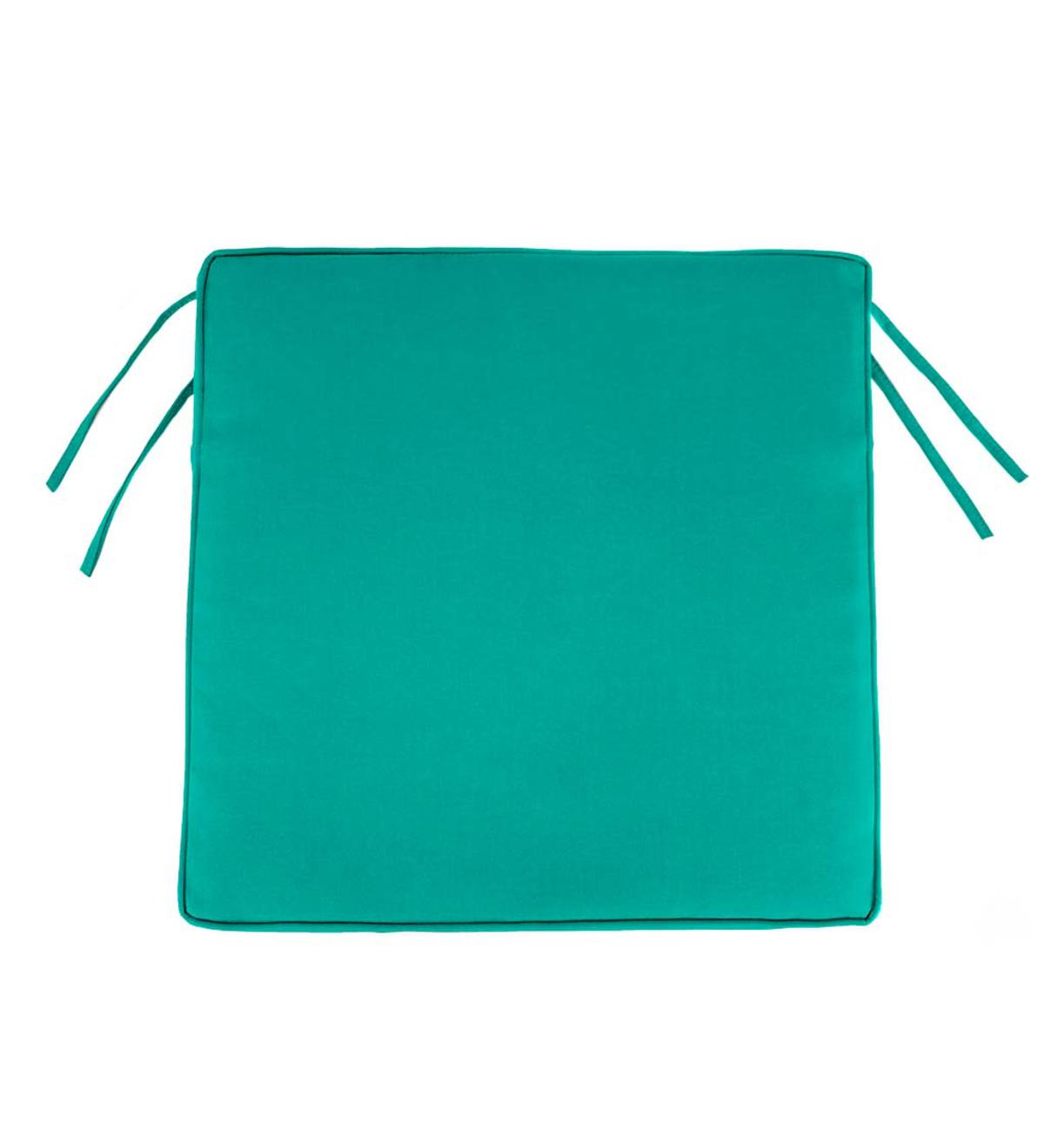 "Polyester Classic Chair Cushions With Ties, 19¾""x 17½""x 3"" - Aqua"