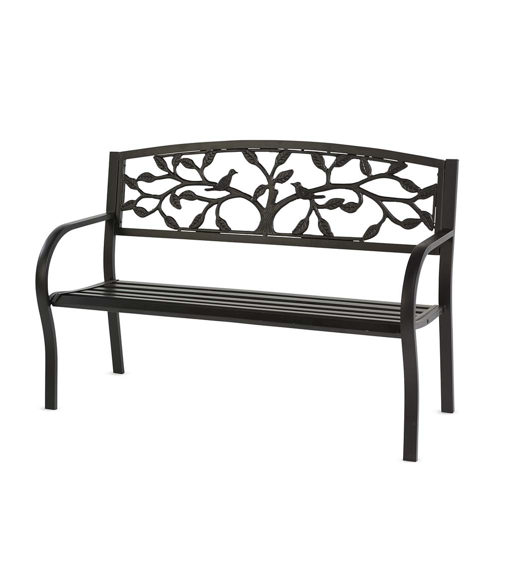 Tree of Life Metal Garden Bench - Black