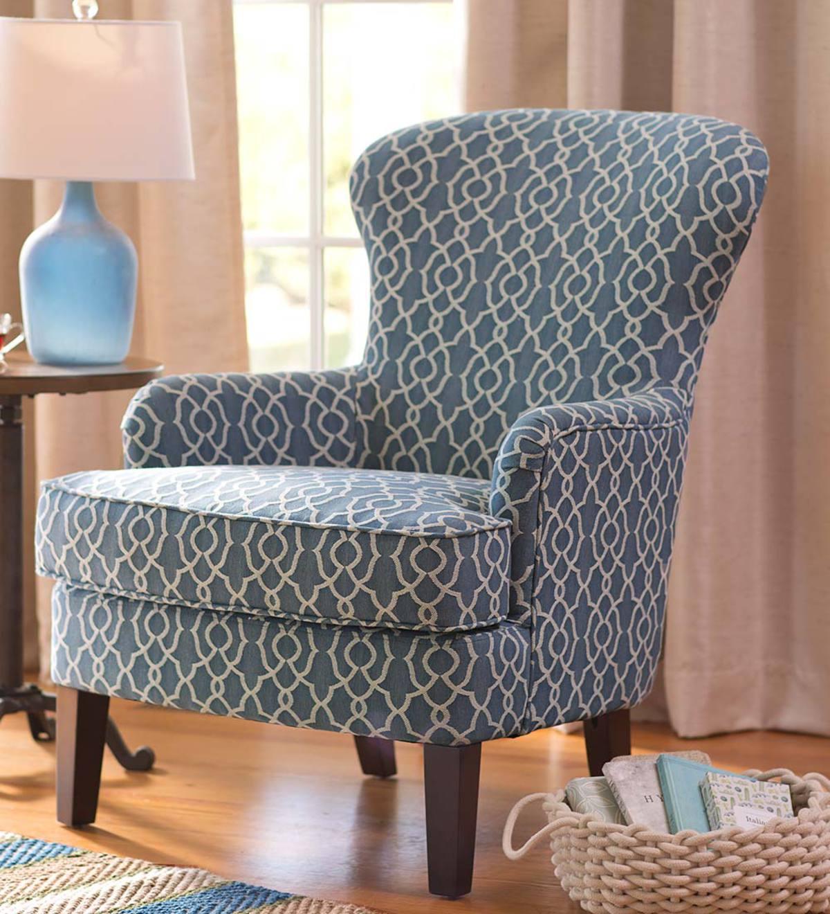 Upholstered Wingback Chair Trellis Design Blue Plowhearth