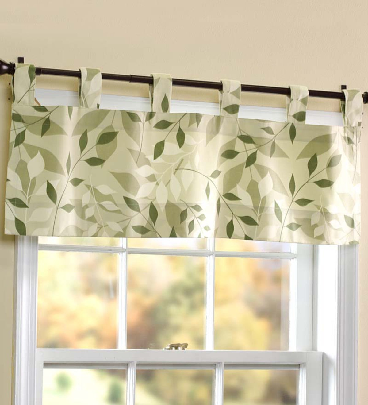 "Leaves Tab-Top Valance, 40""W x 15""L"