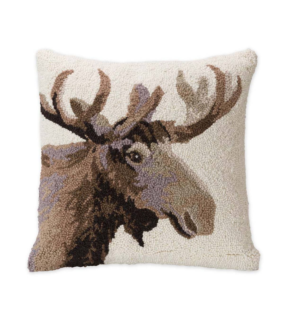 Hand Hooked Wool Pillow With Moose