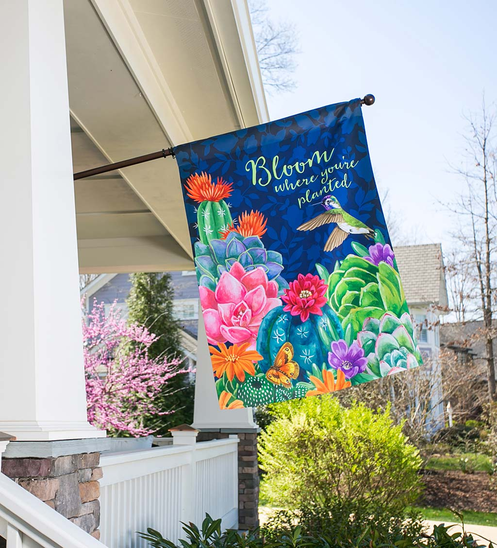 Bloom Where You're Planted Suede House Flag
