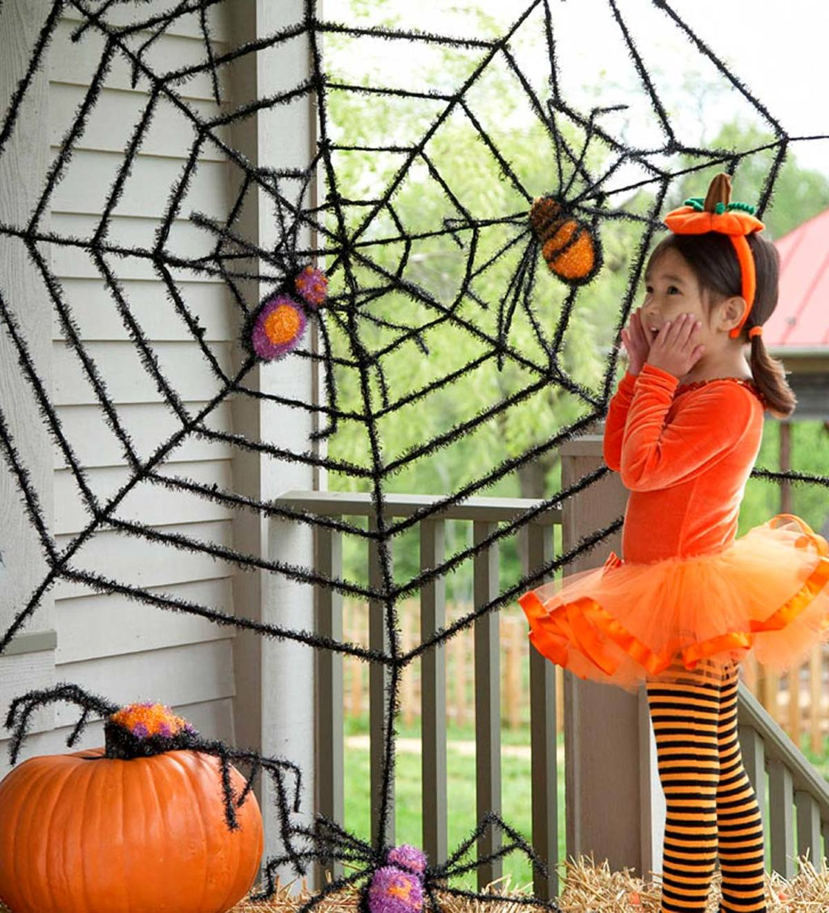 Giant Black Spider Web with Two Spiders Halloween Decoration