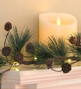 Lighted Pine Cone Garland