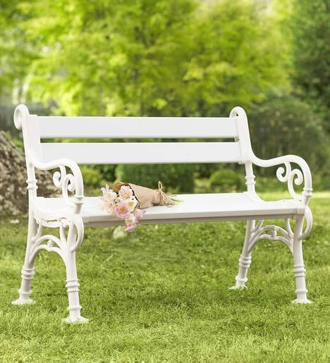 Weatherproof Pvc Garden Bench With Scroll Arms Outdoor