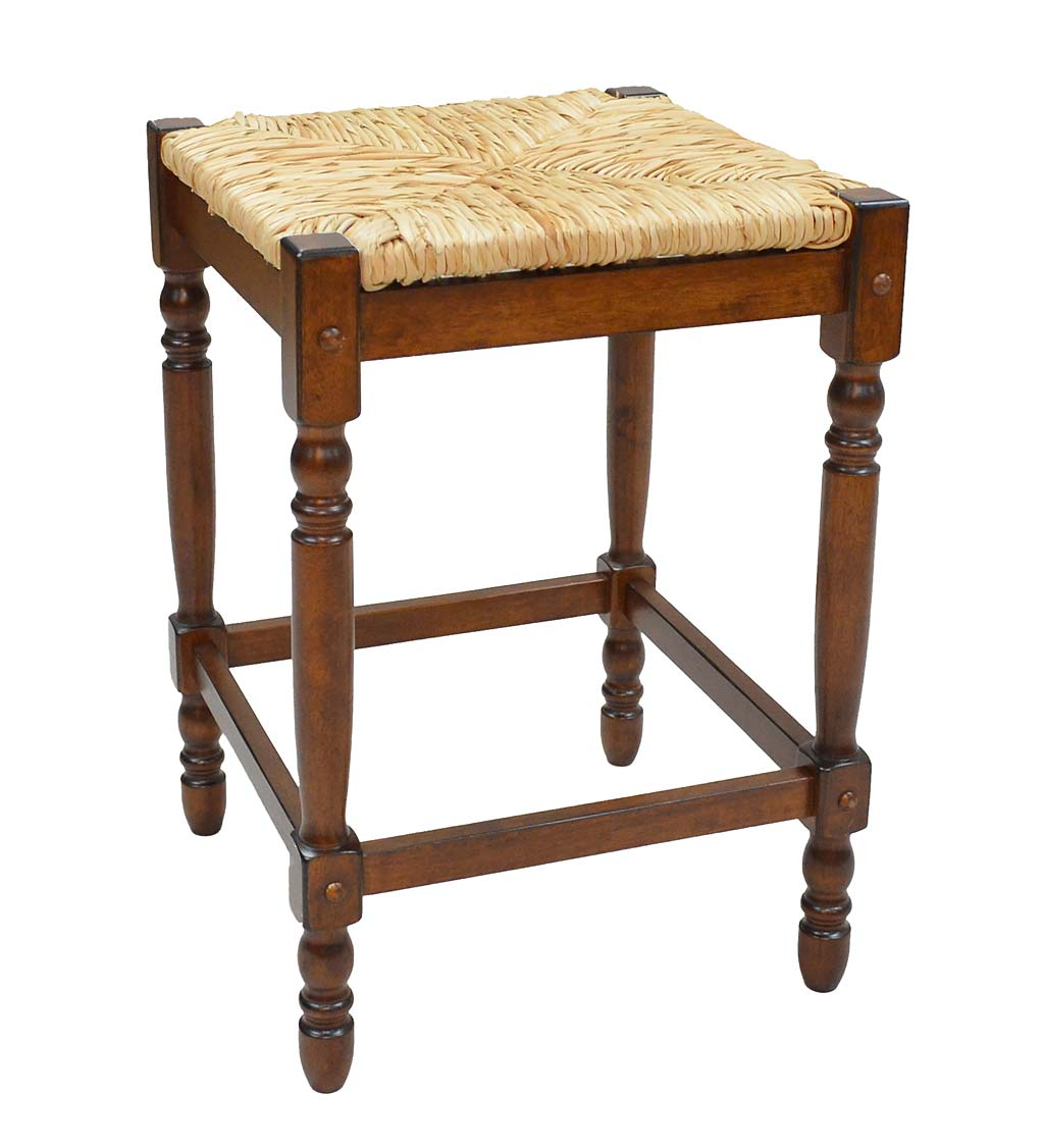 "24""-High Counter Stool with Handwoven Rush Seat swatch image"