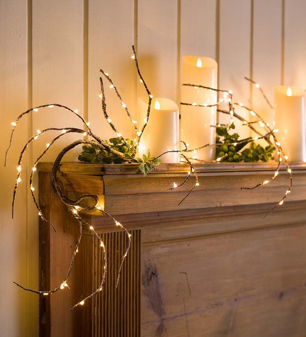 Indoor/Outdoor Birch Garland with 165 Micro LED Lights, 5'L