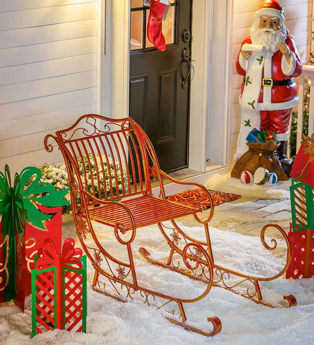 Large Metal Santa Welcome Sled