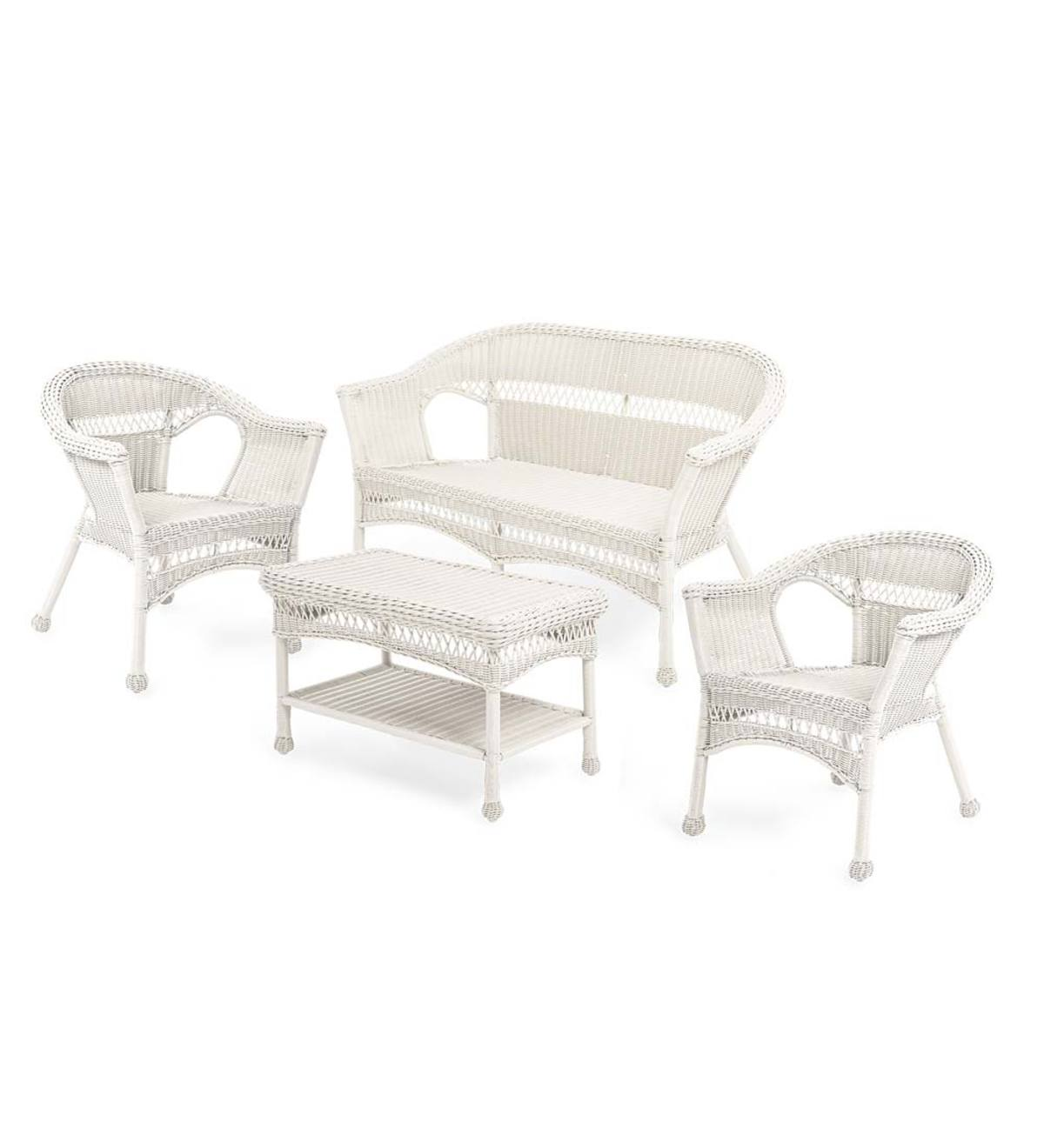 Easy Care Resin Wicker Love Seat Chairs And Coffee Table