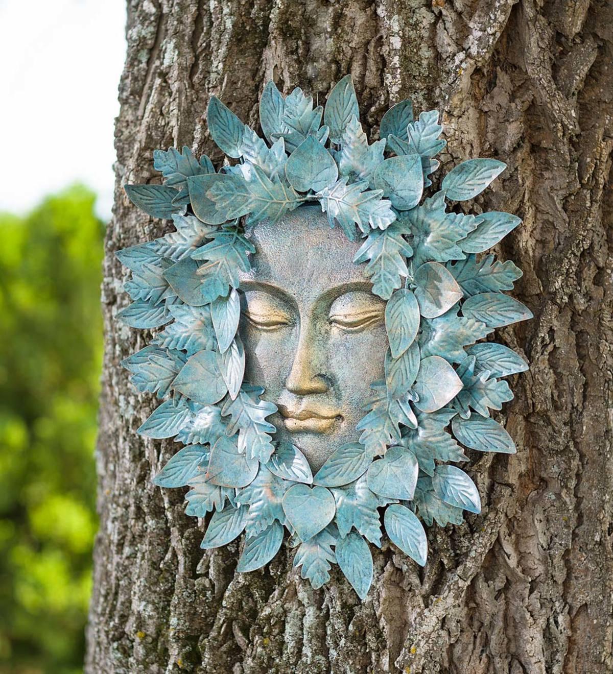 Green Man Bird Bath Feeder Decorative Garden Ornament Wall Plaque Dish GIft