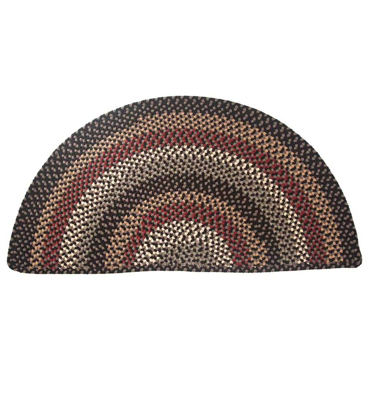 Braided Polypro Roanoke Half Round Rug , 2' x 4' - Black Multi