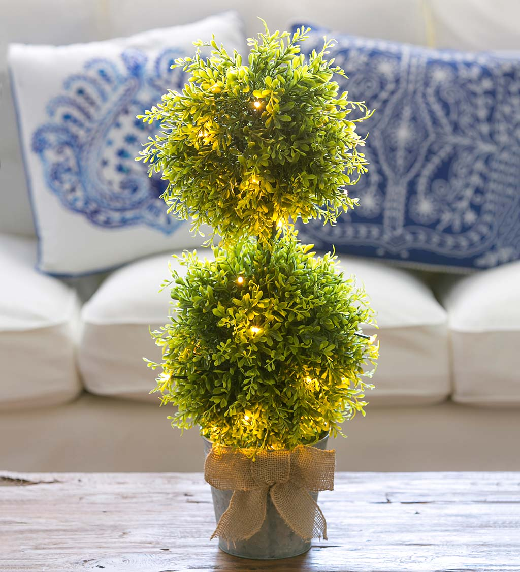 Lighted Faux Boxwood Topiary In Galvanized Pot Plowhearth