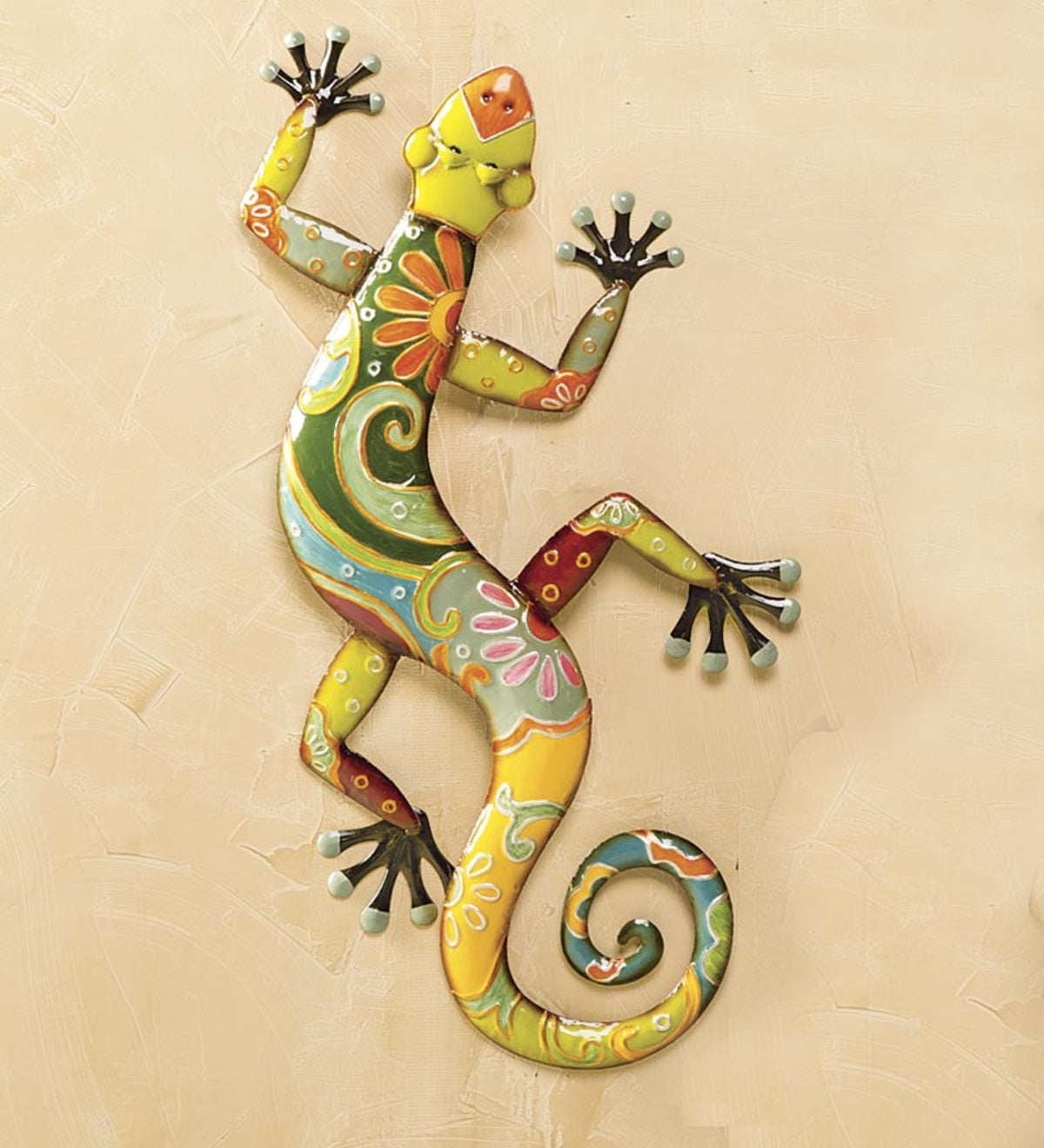 Talavera Painted Metal Gecko Wall Art | PlowHearth