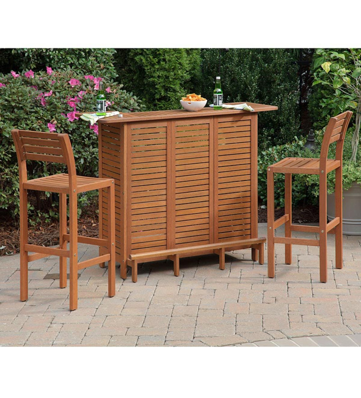 Shorea Wood Montego Outdoor Bar Cabinet And Stools In A Eucalyptus Finish