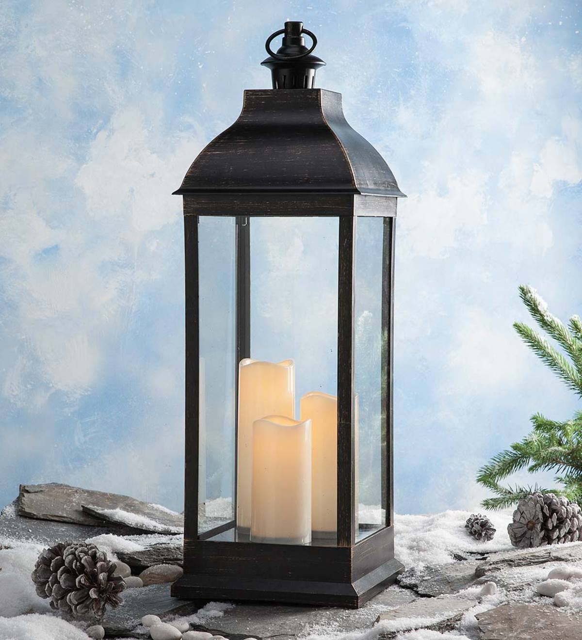 Tall Indoor/Outdoor Lantern with LED Candles and Remote