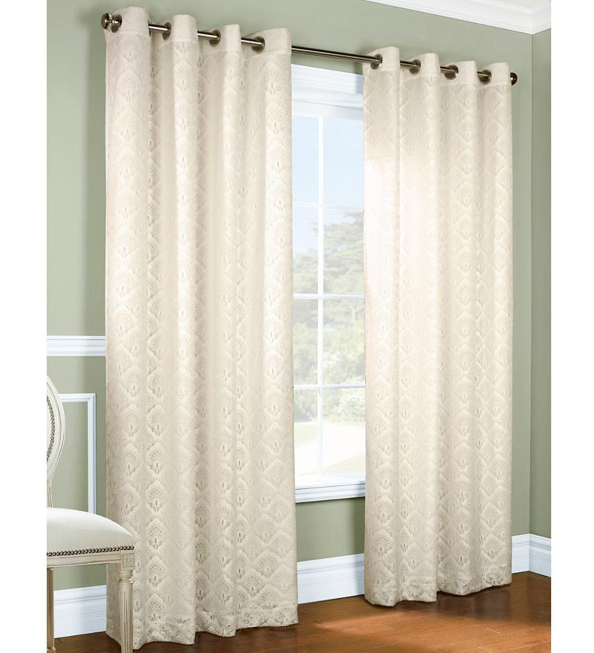 "Thermalogic™ ThermaLace Anna Grommet-Top Curtain Pair, 63""L x 104""W"