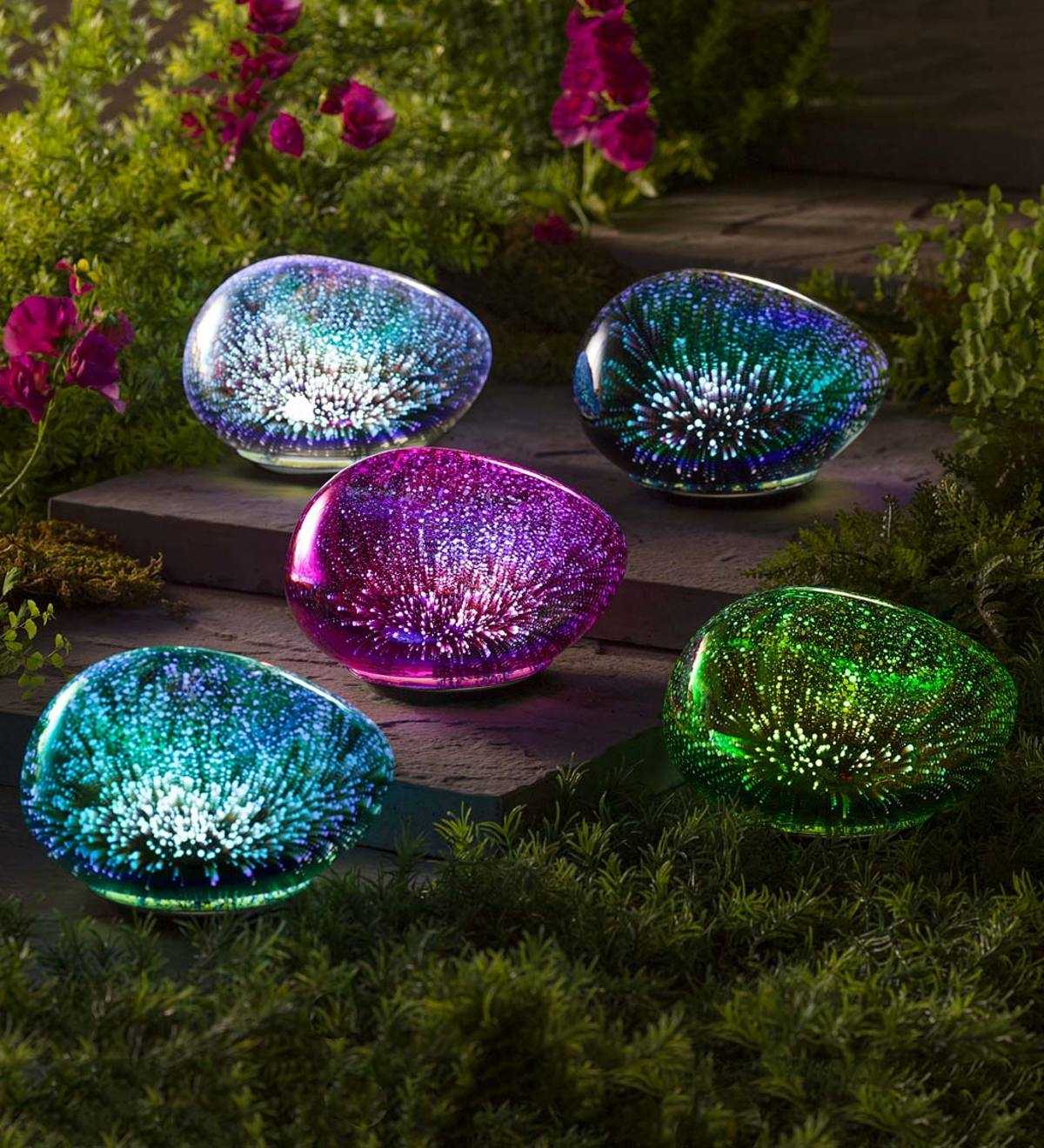 Lighted Art Glass Decorative Glowing Garden Rocks