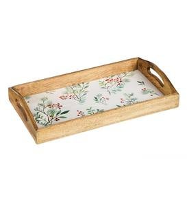 Holiday Wooden Nested Serving Trays, Set of 2