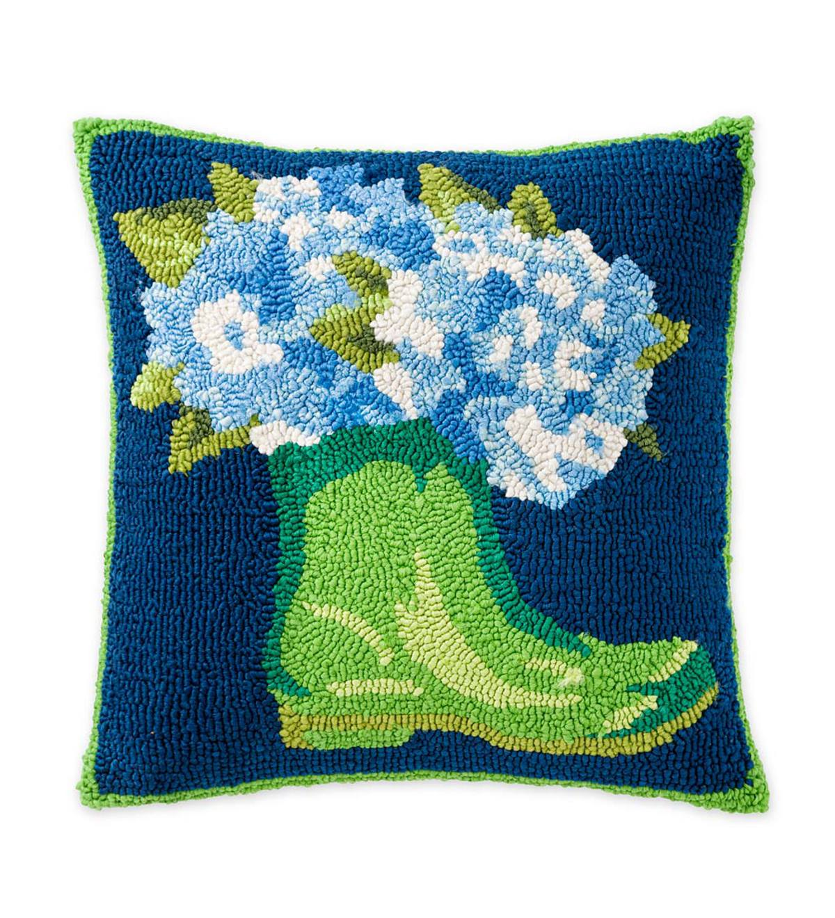 Indoor/Outdoor Hooked Garden Boots and Hydrangeas Throw Pillow